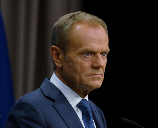 Donald Tusk recommended that the leaders of the remaining 27 EU member states back a delay. Photo...