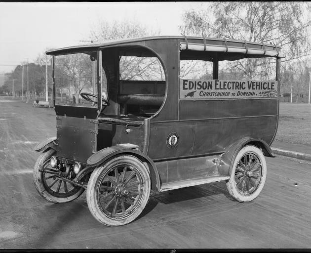 An Edison electric bus, photographed in Christchurch in 1948 that provided a service south to...