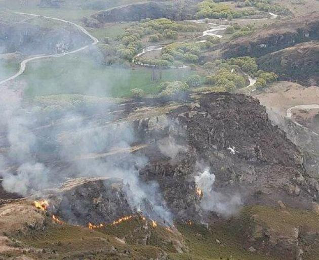 The fire is on rocky terrain: Photo: Fire and Emergency New Zealand via RNZ