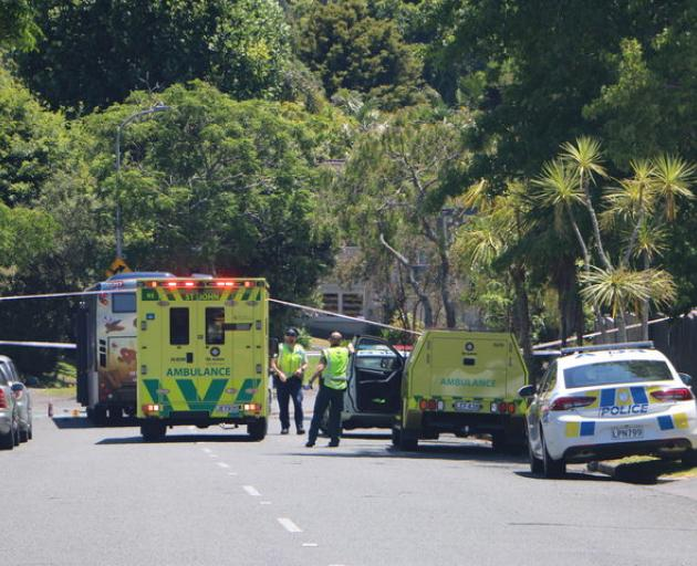 Emergency workers at the scene of the crash on Gowing Dr yesterday. Photo: RNZ