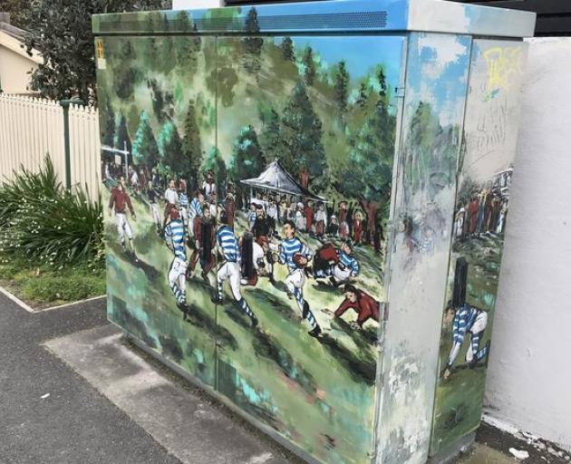 The historic first game is remembered in an artistic rendition on an electrical box. Photo: RNZ /...