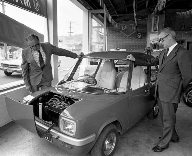 An Enfield Electric City Car in the Dunedin showroom of Amalgamated Batteries in 1976. The car...
