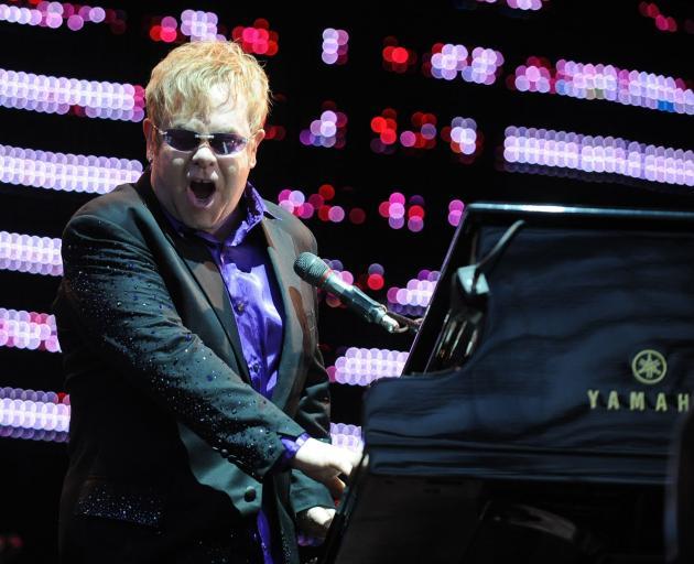 Elton John performs at Forsyth Barr Stadium. Photo: Craig Baxter