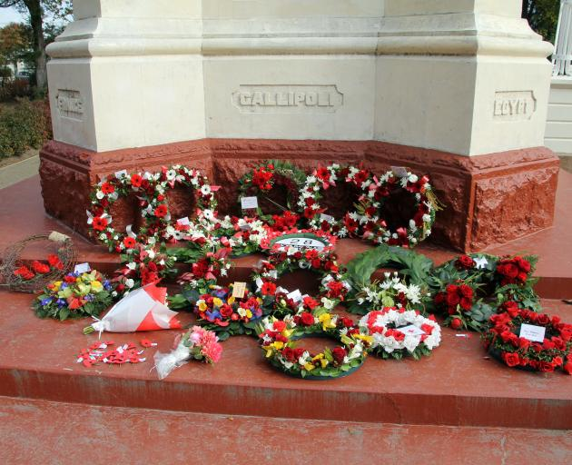 A selection of the numerous wreaths laid at the Gore Cenotaph Memorial where the 100th service...