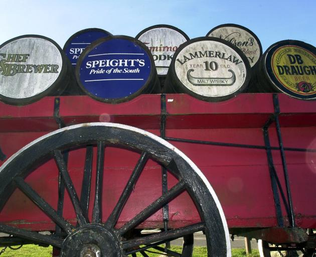 A wagon and barrels at the entrance of Fairfield Tavern in 2003. PHOTO: ODT FILES