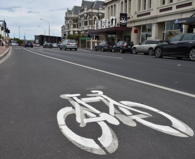 Dunedin's botched cycleway symbols. Photo by Gregor Richardson