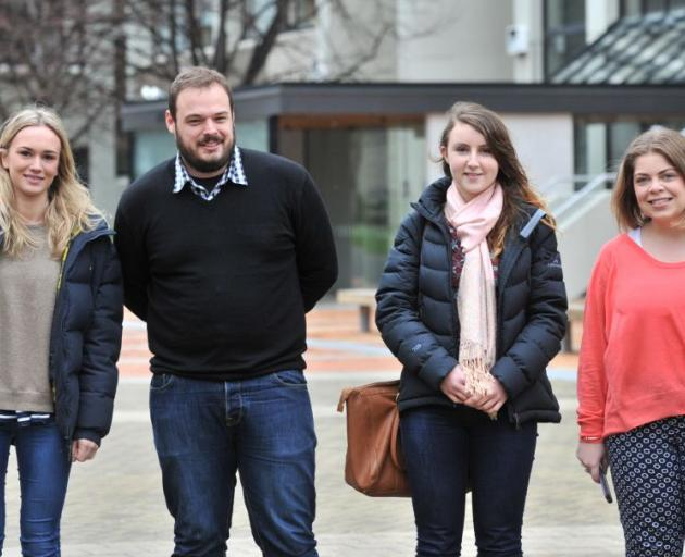 University of Otago law students (from left) Mary McCartin (21), Michael Morrison (27), Rebecca Ness (19) and Anna Goble (21) are volunteers at Otago Corrections Facility. Photo by Linda Robertson.