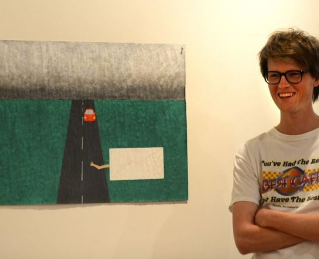 Frances Hodgkins Fellow Nick Austin with his work Travelling envelope #5. Photo by Peter McIntosh.