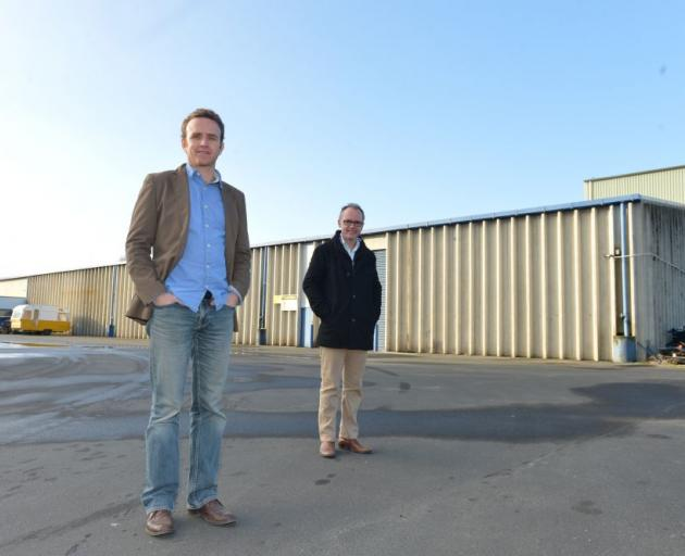 Superior Minerals general manager Gerald Davies (left) and director Lawrence Alloo, outside  the Mosgiel premises they will move into in December. Photo by Peter McIntosh