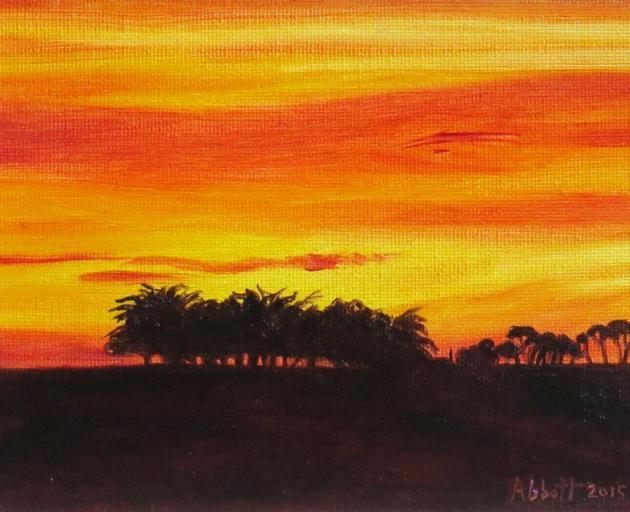 """""""Waianakarua sunset II"""", by Liz Abbott"""