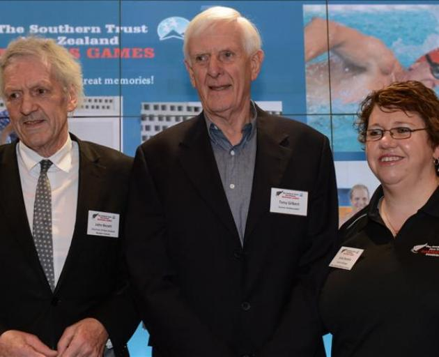At last night's launch of the Masters Games at Toitu Otago Settlers Museum were (from left) chairman of the Dunedin Masters Games Trust John Bezett, games ambassador Tony Gilbert and games manager Vicki Kestila. Phtoo by Linda Robertson.