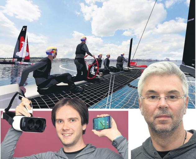 ARL technology and innovation manager John Rendall (above left) holds virtual reality goggles, powered by a Samsung phone, that could be used to showcase virtual reality technology in the 2017 America's Cup. ARL software developer Craig McNaughton. PHOTOS