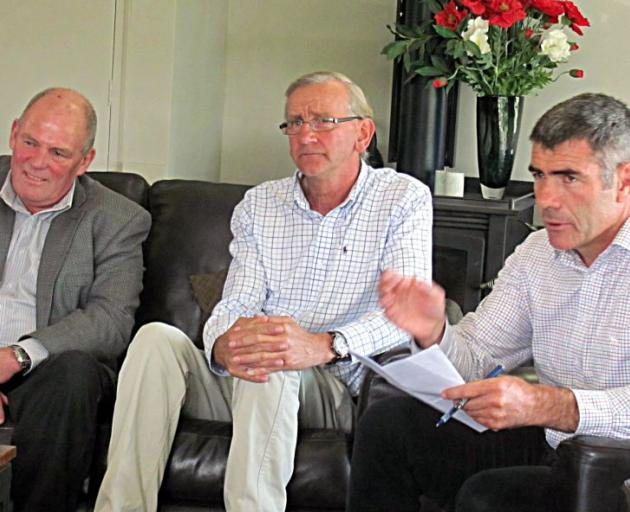 Minister for Primary Industries Nathan Guy (right)  talks with farmers during a fact-finding visit to Mid Canterbury recently. At left is Ashburton Mayor Angus McKay with Tom Lambie, from South Canterbury. Photo by Maureen Bishop