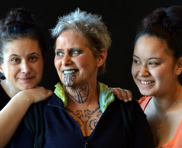 The organiser of a ta moko symposium to be held in Dunedin next month, Justine Camp (left), is joined by her mother, Khyla Russell, and daughter Takiwai Russell-Camp (18). Photo by Stephen Jaquiery.