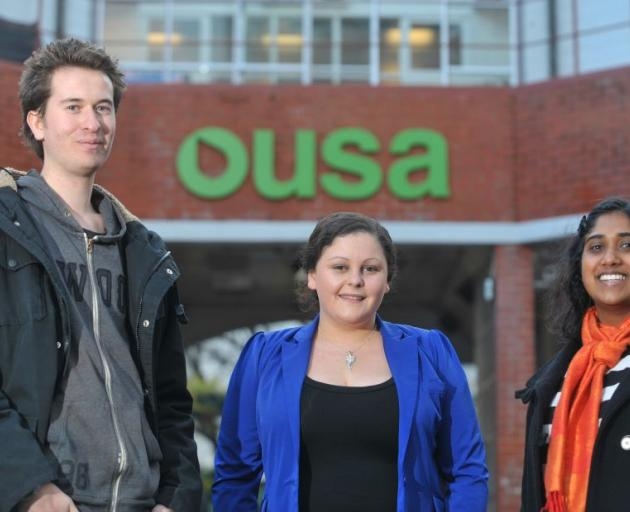 New Otago University Students' Association members (from left) Paul Hunt (24), Jess McLean (20) and Payal Ramritu (22). Photo by Gregor Richardson
