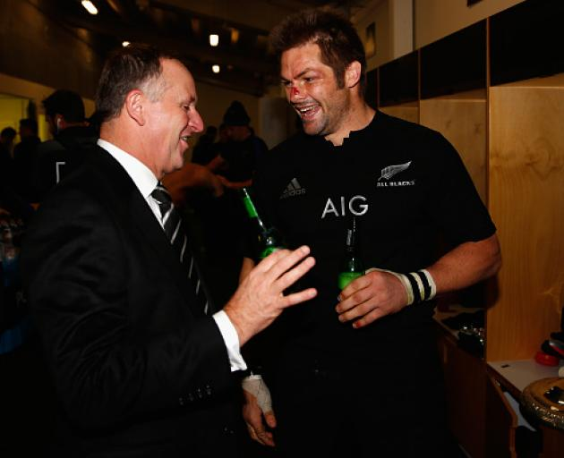 Prime Minister John Key with Richie McCaw after a Bledisloe Cup match earlier this year. Photo: Getty Images