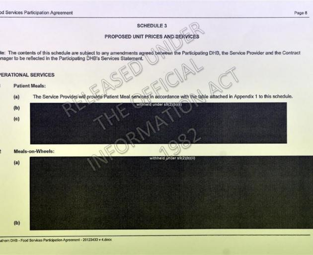 Redacted pages of the Southern DHB-specific agreement.