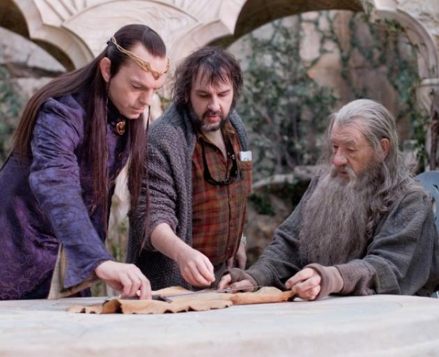 From left: Hugo Weaving, director Sir Peter Jackson and Sir Ian McKellen on the set of The Hobbit: An Unexpected Journey. Photo: MCT