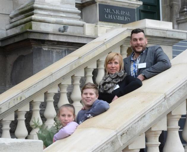 The Kaszala family (from left) Jazmin,  Valentin,  Andrea and Janos outside the Municipal Chambers in Dunedin yesterday. Photo by Linda Robertson