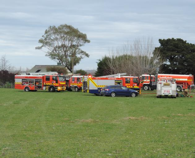 Fire crews at the scene of a house fire in Glasnevin, south of Waipara. Photo: Robyn Bristow/NCN