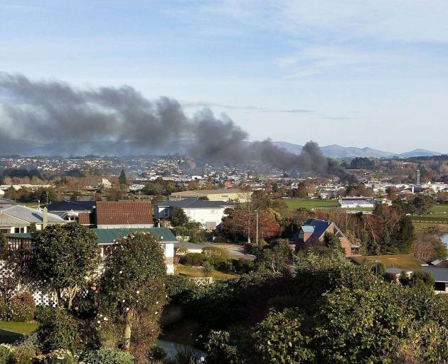 The fire was visible across much of Balclutha. Photo: Rebekah Lyell