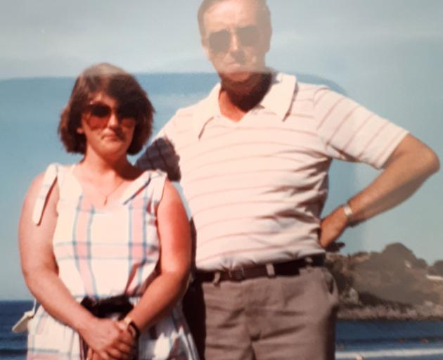 Paula with Fr Magnus Murray at Mt Maunganui during a trip to New Zealand in 1985. Photo: supplied
