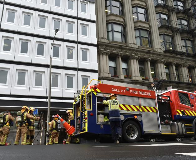 Fire crews at the Bond St buildings earlier this week. Photo: Gregor Richardson