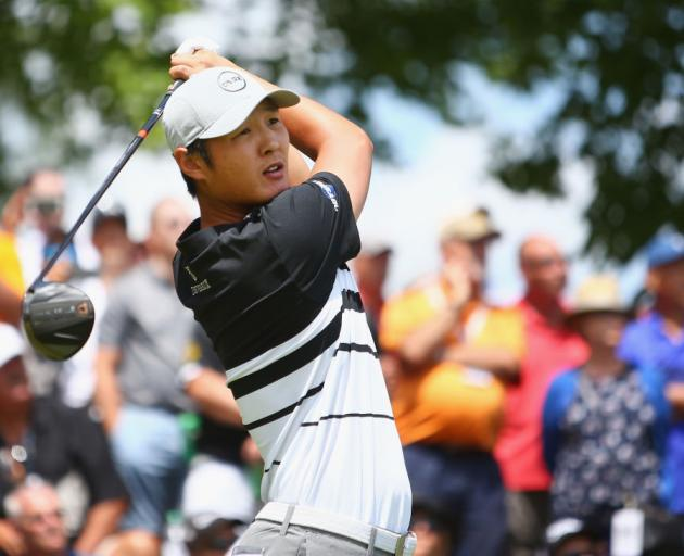 Danny Lee hits his tee shot on the first hole during the final round of the Canadian Open in...