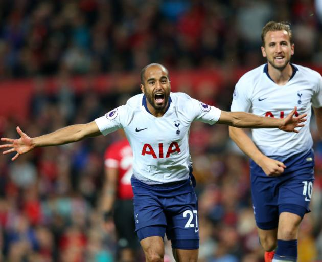Lucas Moura celebrates after scoring Spurs' second goal with Harry Kane behind. Photo: Tottenham...