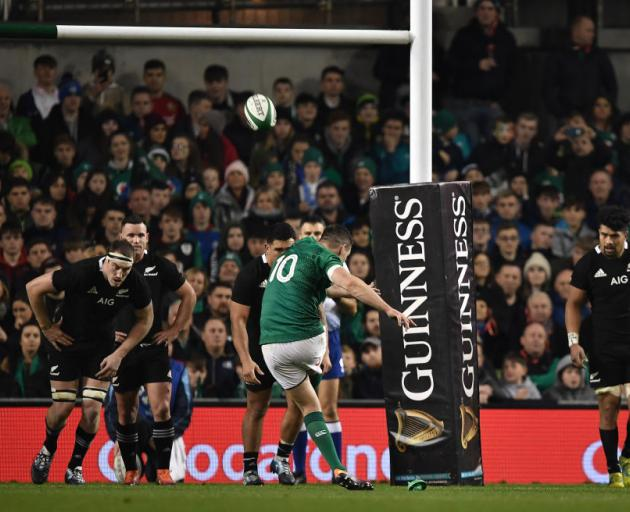 Ireland's Johnny Sexton converts a penalty against the All Blacks on Saturday. Photo: Getty Images