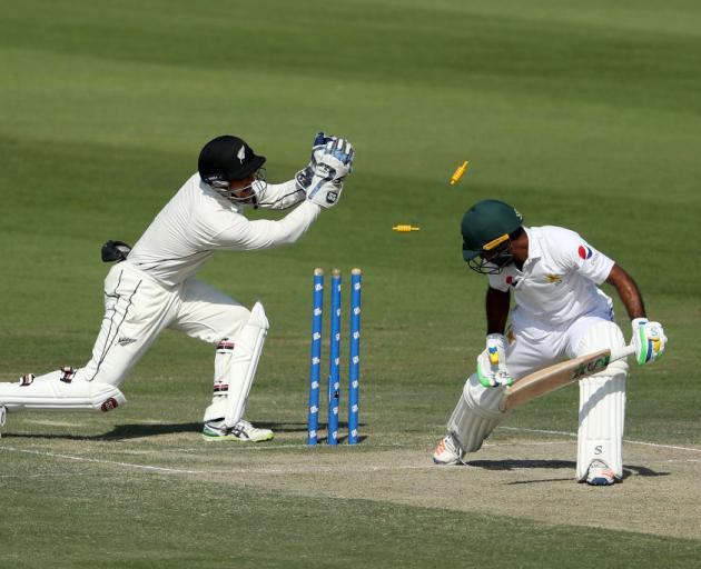 Asad Shafiq is stumped by BJ Watling. Photo: Getty Images