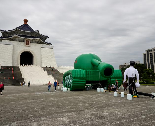 An installation at Chiang Kai-shek Memorial Hall in Taiwan to mark the 30th anniversary of the...