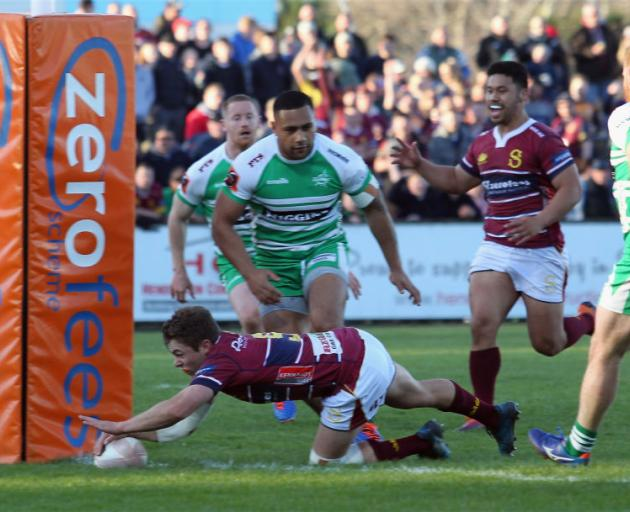 Logan Crowley of Southland scores a try at Rugby Park on Saturday. Photo: Getty Images