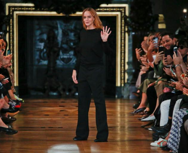 Stella McCartney acknowledges the audience in Paris. Photo: Getty Images