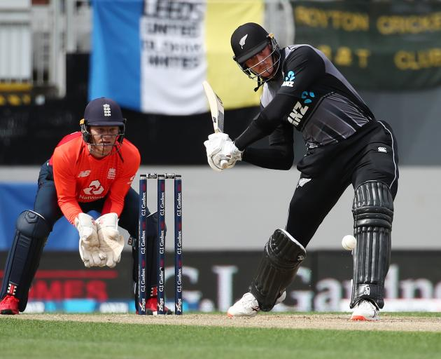 Martin Guptill clobbered a 20-ball-50 to get NZ off to a flying start. Photo: Getty Images