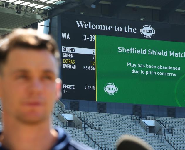 Peter Handscomb of Victoria speaks to the media as play is abandoned due to an unsafe pitch,...