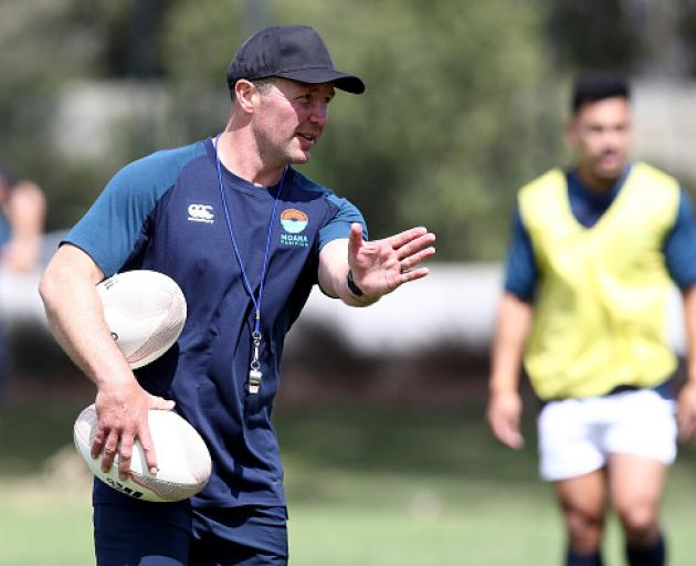 Aaron Mauger during a Moana Pasifika training session. Photo: Getty Images
