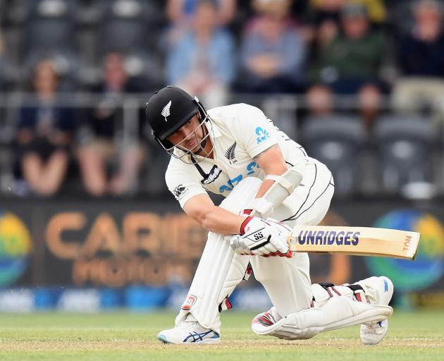 Black Caps wicketkeeper-batsman BJ Watling sweeps during the second test against Pakistan.