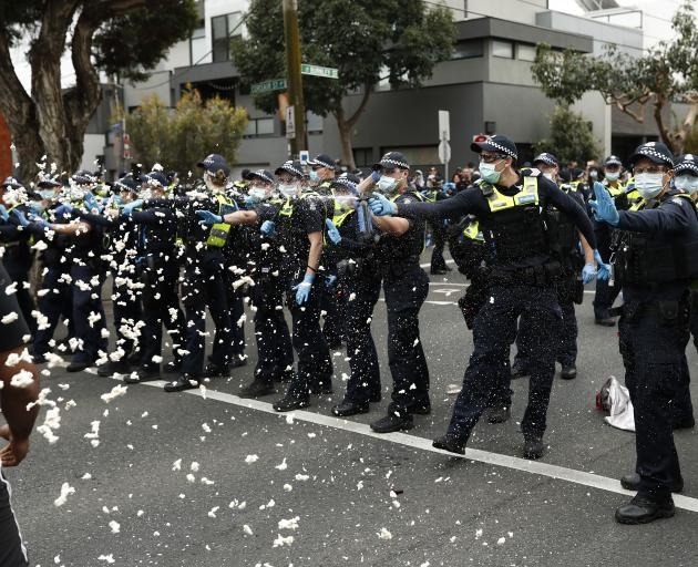 Police used capsicum spray in an attempt to disperse protesters at an anti-lockdown demonstration...
