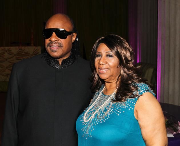 Stevie Wonder and Aretha Franklin at a ceremony in 2012. Photo: Getty Images