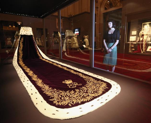 The Queen's coronation robe on display at Buckingham Palace. Photo: Getty Images