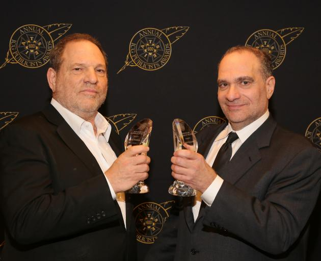 Harvey (left) and Bob Weinstein at an awards event in Los Angeles in 2015. Photo: Getty Images