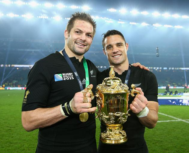 Richie McCaw and Dan Carter after winning the 2015 Rugby World Cup final. Photo: Getty Images
