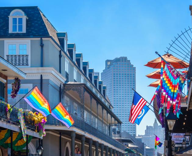 Rainbow flags in Bourbon St. Photo: Getty Images