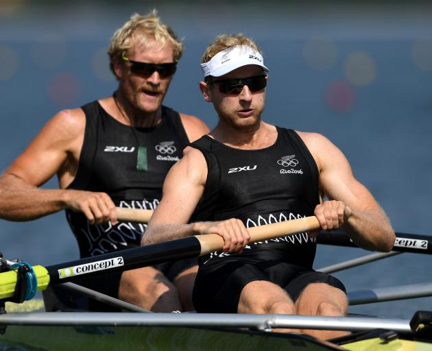 Eric Murray (left) and Hamish Bond on the way to winning their men's pair semifinal at the Lagoa Stadium in Rio de Janeiro. Photo: Getty Images