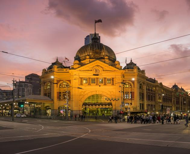 The grand Flinders Street Station opposite Federation Square in the heart of Melbourne. Photo:...