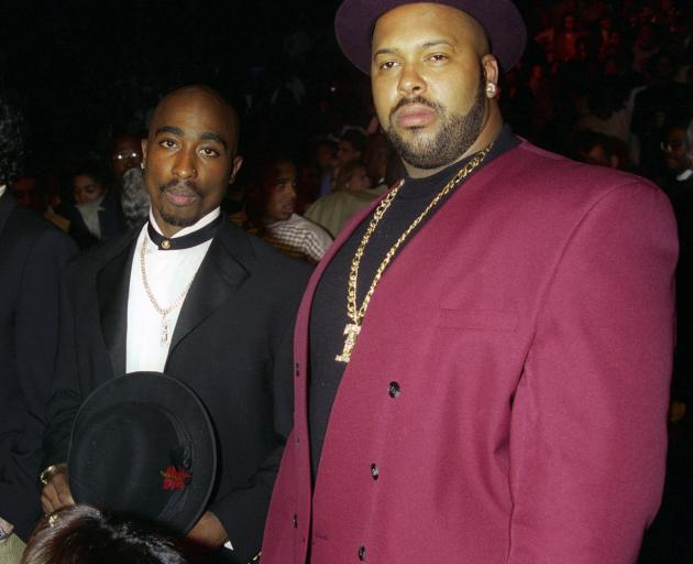 'Suge' Knight (right) pictured with Tupac Shakur at the Mike Tyson v Frank Bruno fight in Las...