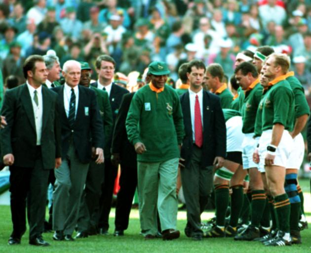 Nelson Mandela meets the players ahead of the infamous 1995 Rugby World Cup final in Johannesburg...