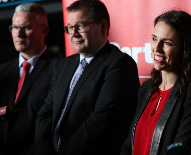 Labour leader Jacinda Ardern with deputy leader Kelvin Davis (left) and finance spokesman Grant Robertson. Photo: Getty Images