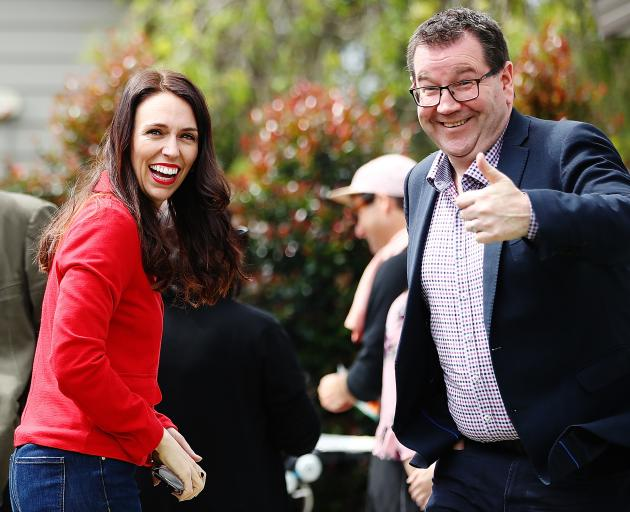 Labour leader Jacinda Ardern and finance spokesman Grant Robertson at her Auckland home on Sunday. Photo: Getty Images